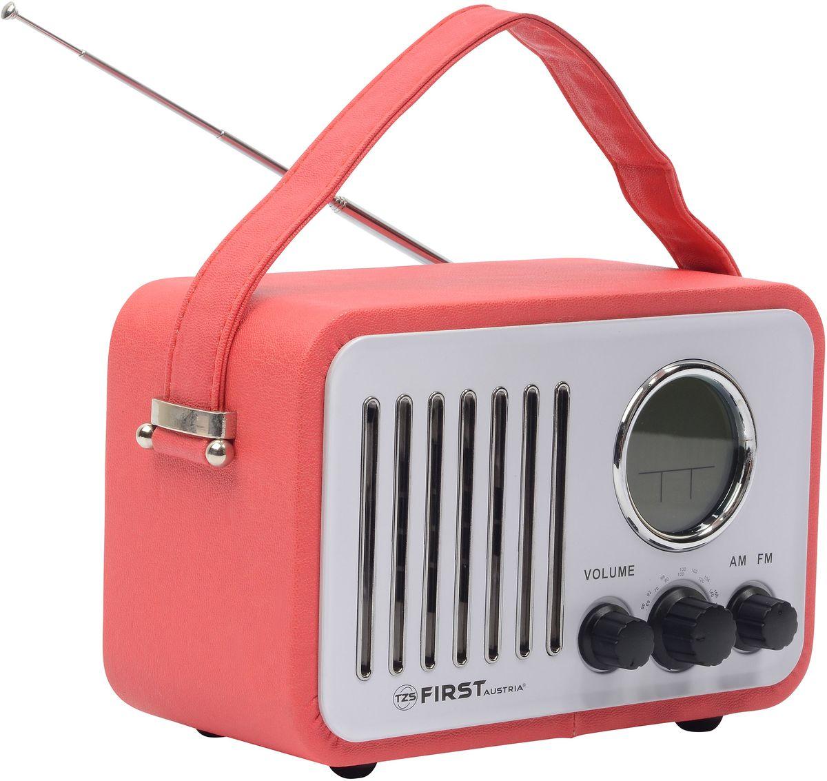 First FA-1908-1, Red радио-будильникFA-1908-1 RedРадиоприемник FIRST 1908-1 , AM/FM, 0.45 Вт, ЖК-диспл, часы, будильник, темп., AUX, AC/DC Red