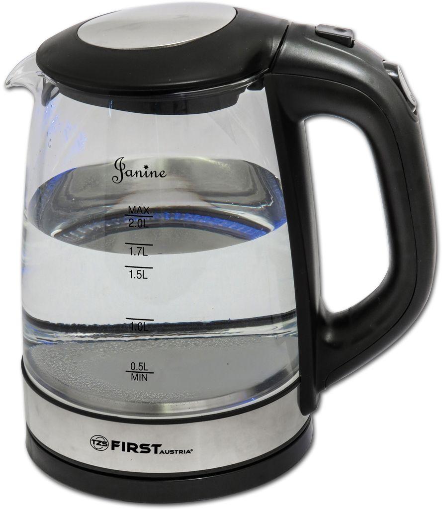 First FA-5406-6, Black чайник электрическийFA-5406-6 BlackFirst FA-5406-6 - электрический чайник мощностью 2200 Вт в корпусе из термостойкого стекла. Прибор оснащен скрытым нагревательным элементом и позволяет вскипятить до 2 л воды. Беспроводное соединение позволяет вращать чайник на подставке на 360°.Данная модель оборудована внутренней подсветкой корпуса, шкалой уровня воды, а также кнопкой открытия крышки. Для обеспечения безопасности при повседневном использовании предусмотрены функции: автовыключение при закипании воды и защита от перегрева.