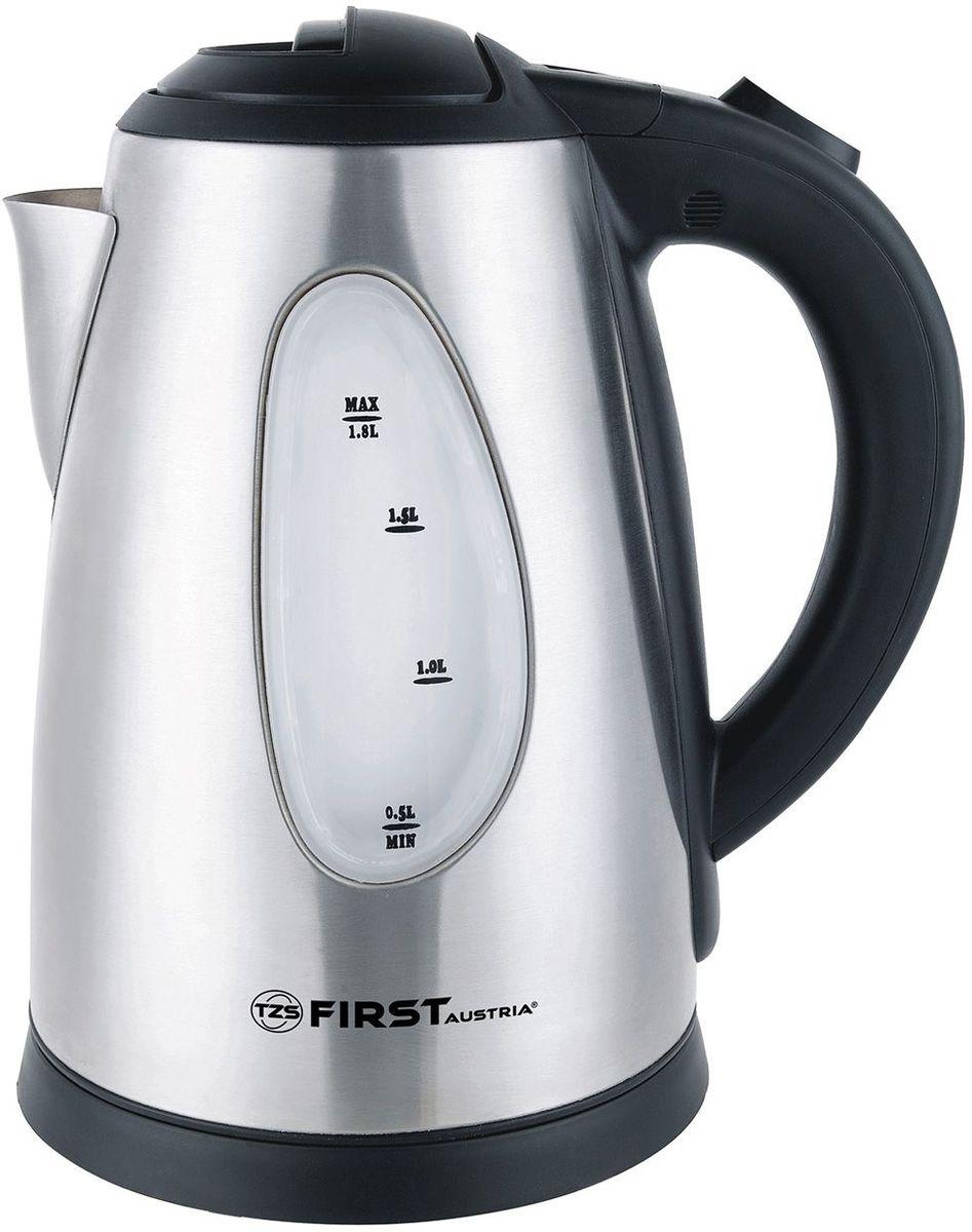 First FA-5410-8 Stell чайник электрическийFA-5410-8 StellFirst FA-5410-8 - электрический чайник мощностью 2200 Вт в корпусе из нержавеющей стали. Прибор оснащен скрытым нагревательным элементом и позволяет вскипятить до 1,8 л воды. Беспроводное соединение позволяет вращать чайник на подставке на 360°.Данная модель оборудована окном контроля уровня воды, фильтром для воды и шкалой уровня воды, а также кнопкой плавного (мягкого) открытия крышки. Для обеспечения безопасности при повседневном использовании предусмотрены функции: автовыключение при закипании воды и отключение при отсутствии воды. У чайника имеется место для хранения шнура.