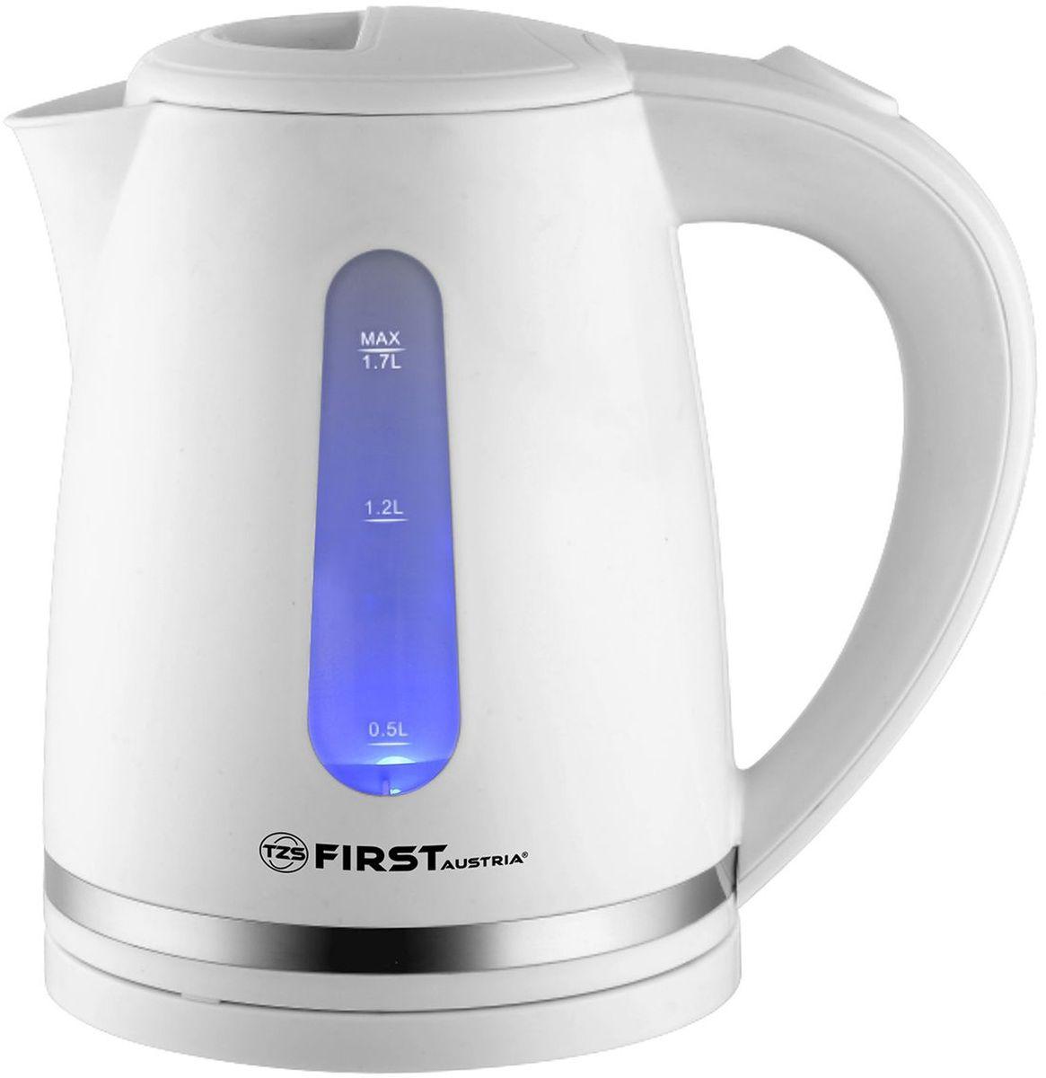 First FA-5427-4, White чайник электрическийFA-5427-4 WhiteFirst FA-5427-4 - электрический чайник мощностью 2200 Вт в корпусе из термостойкого пластика. Прибор оснащен скрытым нагревательным элементом и позволяет вскипятить до 1,7 л воды. Беспроводное соединение позволяет вращать чайник на подставке на 360°.Данная модель оборудована внутренней подсветкой корпуса, фильтром для воды и шкалой уровня воды, а также имеется место для хранения шнура. Для обеспечения безопасности при повседневном использовании предусмотрены функции: автовыключение при закипании воды и отключение при отсутствии воды.