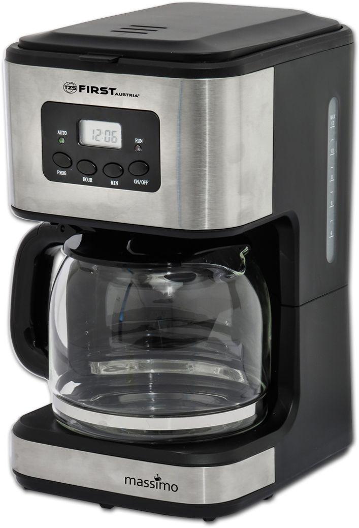First FA-5459-4, Black кофеваркаFA-5459-4 BlackКофеварка FIRST 5459-4 поможет удобно и быстро приготовить кофе.Особенности: Капельная, прохождение кипятка через молотый кофе Емкость: 10-12 чашек(1,2 л.) Мощность: 900 Вт LCD-дисплей Таймер Датчик уровня воды Функция поддержания температуры Антикапельная система Съемный, моющийся фильтр Электропитание: 220-240 В., 50-60 Гц.