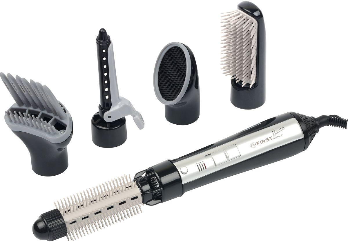 First FA-1-1-BA фен-щеткаFA-1-1-BAФен-щетка - идеальное устройство для создания объемных и пышных причесок, которое незаменимо при работе с короткими или средними по длине волосами.Фен-щетка First FA 1-1 позволяет регулировать температуру потока воздуха. Удобное расположение регулятора на ручке фена, позволяет легко и быстро переключать режимы, не меняя положения руки. Здесь же находится кнопка для подачи холодного воздуха. Данная функция позволяет зафиксировать прическу и снять напряжение с волос после воздействия на них потока горячего воздуха.В комплекте с феном-щеткой прилагается пять насадок. Концентратор позволяет просушивать отдельные участки головы и пряди волос, по частям создавая сложную прическу. Насадка-диффузор позволяет максимально расширить площадь действия горячего воздуха из фена, высушить волосы быстрее и мягче, а также придать им объем. Насадка-щетка (круглая) - выполняет функции просушивания и придания волосам объема. Насадка-щипцы визуально похожа на плойку с небольшими отверстиями. Горячий воздух просушивает волосы и придает им волнистый эффект. Насадка-расческа предназначена для высушивания и расчесывания волос.Фен-щетка обладает длинным, свободно вращающимся шнуром питания, что дает достаточно свободы в перемещениях и движении во время ее использования. Для повышения срока эксплуатации прибора, предусмотрена функция автоотключения (защиты от перегрева).