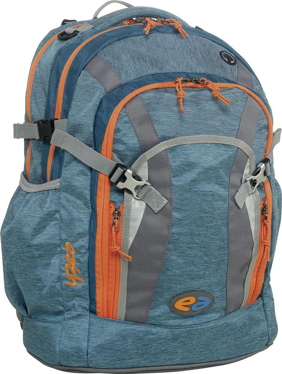 Thorka Рюкзак YZEA Pro Волна29014630063Два самостоятельных отделения рюкзака Thorka YZEA Pro помогают поддерживать порядок, способствуют распределению веса. В удобном органайзере мелкие вещи всегда под рукой.Регулируемый по высоте нагрудный ремень для фиксации рюкзака на спине, съемный поясной ремень обеспечивают плотное прилегание, за счет чего разгружается плечо. Гибкая несущая система с четырехуровневой регулировкой высоты.Ремни сжатия позволяют стянуть вместе два основных отделения, уменьшая объем. Фиксированная короткая ручка обеспечивает удобный перенос рюкзака не только на спине. К ручке прочно пришит кронштейн для подвешивания мешка для сменной обуви. Боковые эластичные карманы удобны для бутылок с напитками. Предусмотрены отделения для велосипедного шлема, куртки и прочего.