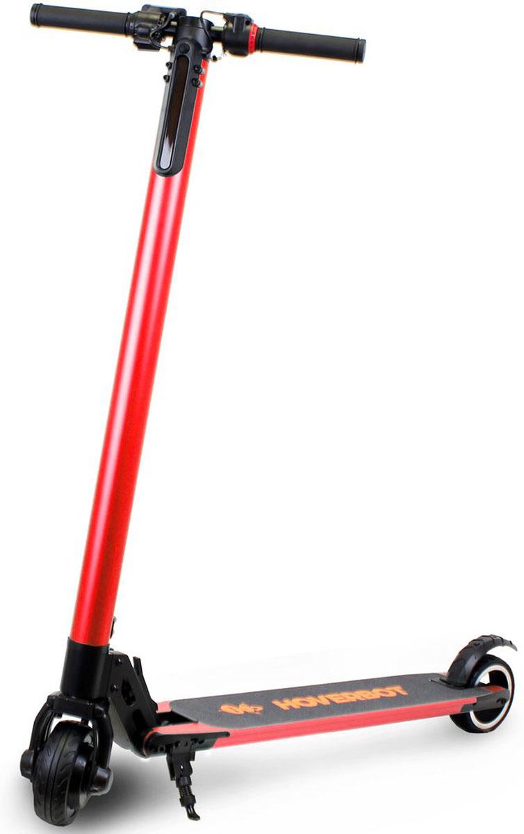 """Электросамокат Hoverbot, цвет: красныйEF6RDЭлектросамокат Hoverbot F-6 это уникальное устройство в ассортименте компании Hoverbot. Он преодолевает на одном заряде батареи до 35 км с максимальной скоростью до 25 км/ч. Это стало возможным за счет облегченного, но очень прочного корпуса, который выполнен из алюминия, с использованием при сборке компьютеризированной сварки деталей, и весит всего 6,3 килограмма. Мощный 3-х скоростной 250-ти W мотор плавно разгоняется и выдерживает максимальную нагрузку до 100-120 кг. 5"""" колеса пригодны для городских условий, прекрасно преодолевают небольшие асфальтовые неровности. Шероховатая платформа для ног дает полную уверенность и контроль равновесие при езде. Электронные тормоза чутко реагируют на нажим, у них высокий отклик датчиков. Увеличение скорости и торможение осуществляется рычагами на ручках самоката. Имеется электронный дисплей, на котором отображается скорость и пробег. Так же на дисплее есть кнопки переключения скоростей. Для комфортного перемещения ночью электросамокат оснащен фонарем. Надежность и уверенность во всем это именно то, что присуще электросамокату Hoverbot F-6."""