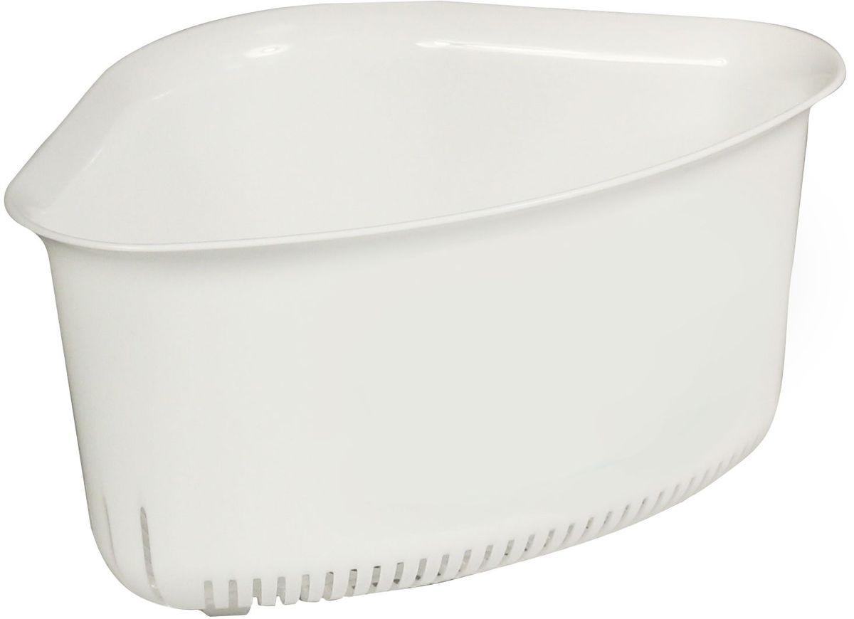 Корзинка угловая Idea, цвет: белый, 12 х 18,5 х 18,5 см подставка для моющих средств idea цвет салатовый 10 5 х 12 5 х 18 5 см