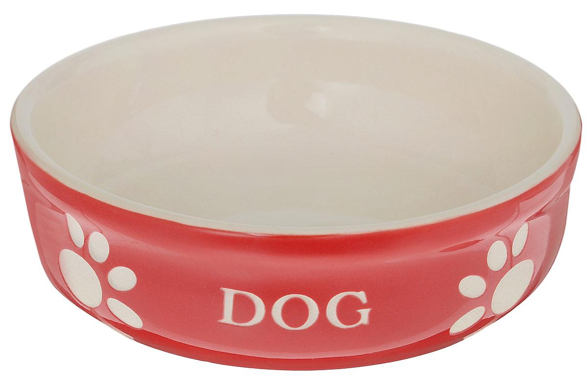Миска для собак Nobby Dog, цвет: красный, светло-бежевый, 130 мл68765Миска для собак Nobby Dog выполнена из керамики, покрытой глазурью. Внешние стенки дополнены рельефными рисунками и надписями. Миска достаточно тяжелая, поэтому не будет скользить по полу. Прекрасно подойдет для собак мелких пород. Диаметр миски: 12 см. Высота миски: 3,5 см.