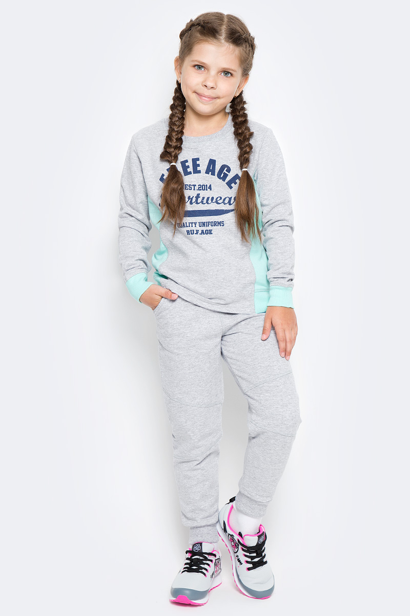 Свитшот для девочки Free Age, цвет: зеленый, серый меланж. ZG 09301-MT-2. Размер 134, 8 лет