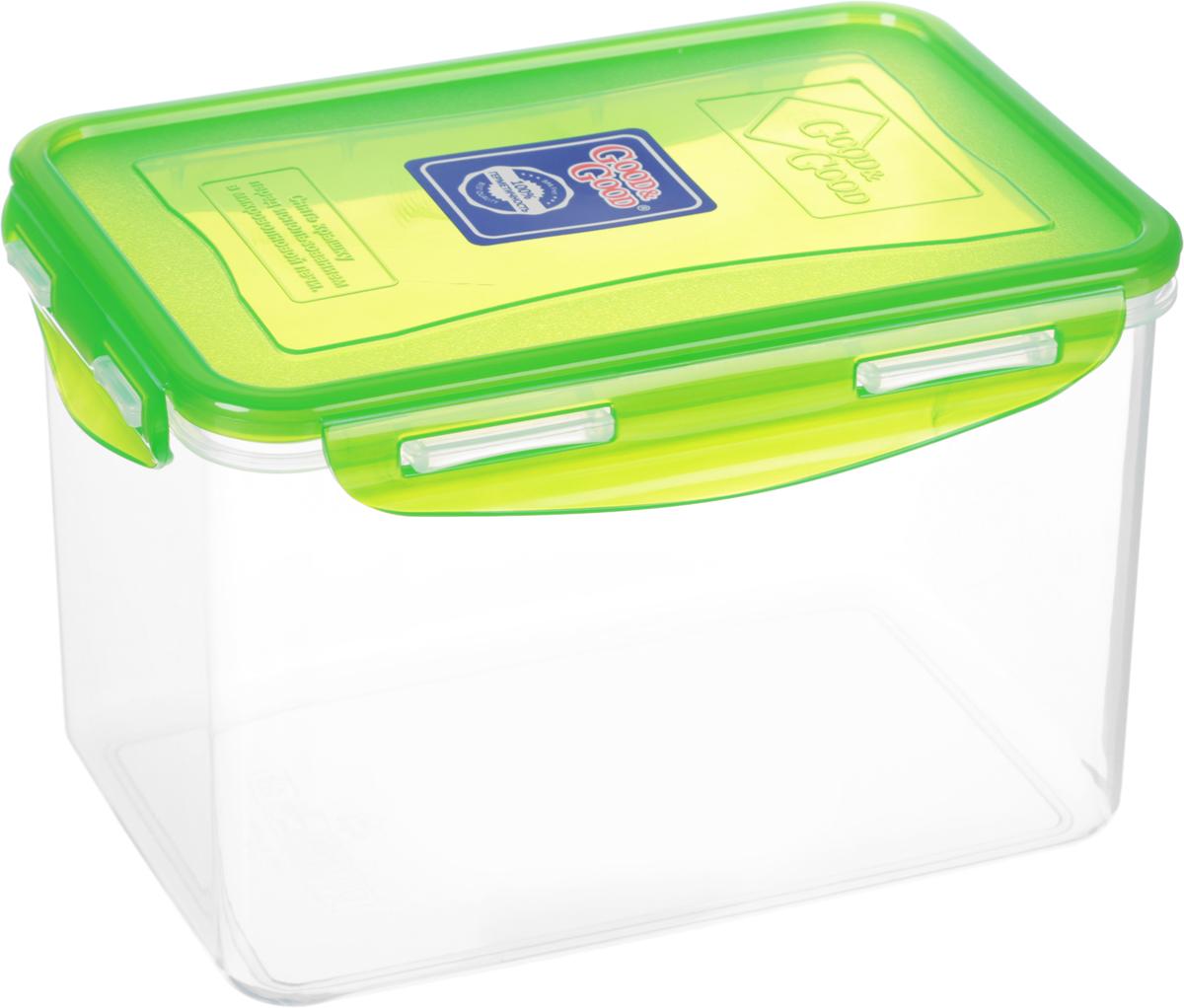 """Прямоугольный контейнер """"Good&Good"""" изготовлен из высококачественного полипропилена и предназначен для хранения любых пищевых продуктов. Благодаря особым технологиям изготовления, лотки в течение времени службы не меняют цвет и не пропитываются запахами. Крышка с силиконовой вставкой герметично защелкивается специальным механизмом.  Контейнер """"Good&Good"""" удобен для ежедневного использования в быту. Можно мыть в посудомоечной машине и использовать в микроволновой печи. Размер контейнера (с учетом крышки): 20 х 13,5 х 13 см."""