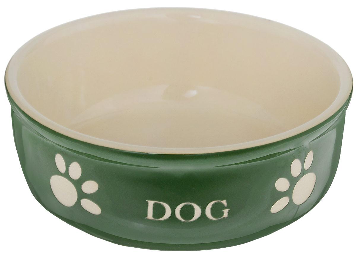 Миска для собак Nobby Dog, цвет: зеленый, светло-бежевый, 240 мл73317Миска для собак Nobby Dog выполнена из керамики, покрытой глазурью. Внешние стенки дополнены рельефными рисунками и надписями. Миска достаточно тяжелая, поэтому не будет скользить по полу. Отлично подойдет для собак мелких пород.Диаметр миски: 13,5 см. Высота миски: 5 см.
