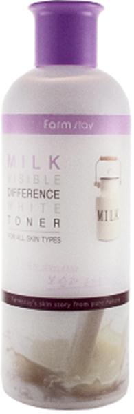 FarmStay Увлажняющий и осветляющий тонер с экстрактом молока, 350 мл8809514480177Молочный тонер – средство для бережного ухода за любым типом кожи, но особенно рекомендуется для сухой, тусклой и пигментированной кожи. Тонер используется сразу после очищения кожи, оберегает ее от возникновения сухости и шелушений. Кроме того, тонер завершает процесс очищения кожи, отшелушивая омертвевшие клетки кожи, благодаря чему не только выравнивается поверхность и тон кожи, но и лучше усваиваются последующие косметические средства. В составе тонера молочный экстракт – эликсир красоты и молодости кожи, оказывает на нее благотворное воздействие, восстанавливая важные биологические функции и обменные процессы, ускоряет регенерацию клеток в зародышевом слое кожи, а также стимулирует синтез коллагена. Тонер с молочным экстрактом глубоко питает и увлажняет кожу, освежает ее, повышает эластичность и упругость, разглаживает морщины, а также осветляет кожу, выравнивает ее тон, делает светлой, свежей, сияющей.