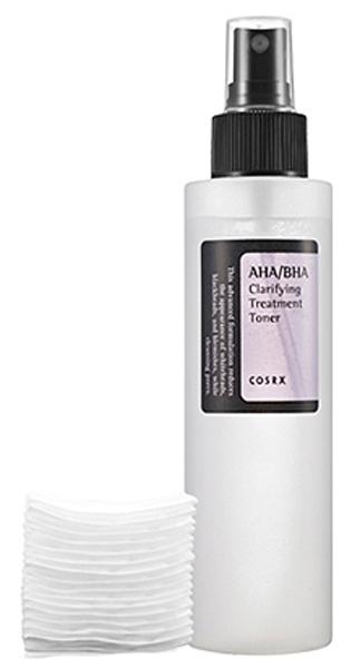 CosRX Тонер очищающий с AHA/BHA-кислотами, 150 мл8809416470030Очищающий лечебный тонер с AHA и BHA-кислотамиОчищение кожи от ороговевших клеток кожи, контроль за работой сальных желез, очищение и сужение пор обеспечивает тонер от CosRx с AHA и BHA-кислотами. Тонер изготовлен на основе минеральной воды, оказывает увлажняющее и смягчающее действие, способствует осветлению пигментации и разглаживанию морщин. Рекомендуется для проблемной кожи с акне и комедонами, а также для рыхлой, утолщенной и тусклой кожи. Может применяться для каждодневного ухода, утром и вечером. Сочетается с другими кислотными средствами (пилинг, скраб и т. п. ). AHA (гликолевая кислота) обладает прекрасными отшелушивающими свойствами, растворяет склеивающее клетки вещество, благодаря чему они легко удаляются с поверхности кожи, ускоряет обновление клеток. Регулярное применение гликолевой кислоты, которая увеличивает уровень гиалуроновой кислоты в коже, а также стимулирует синтез коллагена, приводит к постепенному осветлению пигментации и разглаживанию тонких морщинок. Бетаин-салицилат оказывает мощное противомикробное, противовоспалительное действие, растворяет загрязнения в порах и черные точки, удаляет ороговевшие клетки кожи, регулирует активность сальных желез. Яблочная вода насыщает кожу необходимыми микроэлементами и минеральными солями, увлажняет и тонизирует кожу, наполняет ее жизненной силой, улучшает цвет лица и способствует омоложению. Экстракт коры белой ивы обладает противовоспалительными и антисесптическими свойствами, отшелушивает ороговевшие клетки кожи и регулирует работу сальных желез, ускоряет клеточный обмен, тонизирует кожу. Пантенол – спасение для сухой, обезвоженной, повреждённой и начинающей стареть кожи. Способствует восстановлению и регенерации эпидермиса. Омолаживающее действие пантенола выражается в ускорении выработки коллагена, повышении упругости и эластичности кожи, а также в разглаживании морщин.