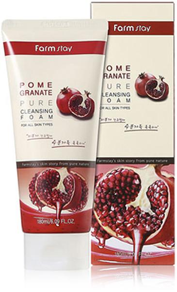FarmStay Пенка очищающая с экстрактом ганата, 180 мл8809317289618Пенка для умывания с экстрактом граната создает богатую пену, эффективно очищает кожу от мертвых клеток кожи, ежедневных загрязнений, следов макияжа. Сохраняет и поддерживает оптимальный уровень увлажнения и сохраняет гидро-липидный баланс. Не содержит парабенов и консервантов, феноксиэтанола, бензиловых спиртов, триэтаноламина, этанола, талька, отдушек. Экстракт граната стимулирует образование аквапоринов (каналов активного переноса воды - играющих важнейшую роль в поддержании оптимального количества влаги в коже), обладает противовоспалительной активностью, ускоряет регенерацию, заживление тканей; обладает антиоксидантным потенциалом, уменьшает трансэпидермальную потерю влаги кожей, восстанавливая ее барьерные свойства.