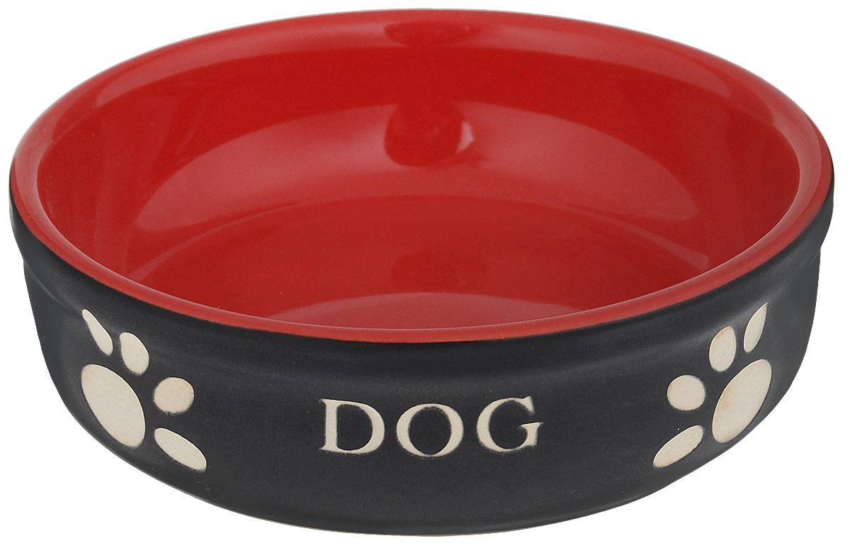 Миска для собак Nobby Dog, цвет: красный, черный, 130 мл73429Миска для собак Nobby Dog выполнена из керамики, покрытой глазурью. Внешние стенки дополнены рельефными рисунками и надписями. Миска достаточно тяжелая, поэтому не будет скользить по полу. Прекрасно подойдет для собак мелких пород. Диаметр миски: 12 см. Высота миски: 3,5 см.