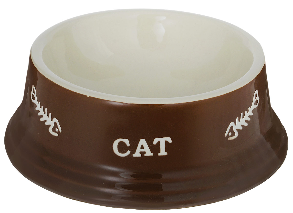 Миска для кошек Nobby Cat, цвет: коричневый, светло-бежевый, 140 мл73371Миска для кошек Nobby Cat выполнена из керамики, покрытой глазурью. Внешние стенки дополнены рельефными рисунками и надписями. Миска достаточно тяжелая, поэтому не будет скользить по полу. Диаметр миски по верхнему краю: 12 см. Диаметр основания: 15 см. Высота миски: 5 см.
