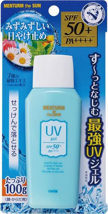 Omi Brother Menturm the Sun Увлажняющий солнцезащитный гель для лица и тела, с семью растительными экстрактами, SPF50+ PA++++, 100 г534111Солнцезащитный гель надежно оградит вашу кожу от вредного воздействия ультрафиолетовых лучей А и В-типа и солнечных ожогов. Имеет максимальный фактор защиты. Не только защищает, но также увлажняет кожу, благодаря семи растительным компонентам: экстрактам алоэ вера, ромашки, розы тысячелистной, листьев персика, экстракту плодов, листьев и корней тыквы мочальной, периллы, огурца. Легко наносится и быстро впитывается, не оставляя белых разводов. Не содержит ароматизаторов и красителей.