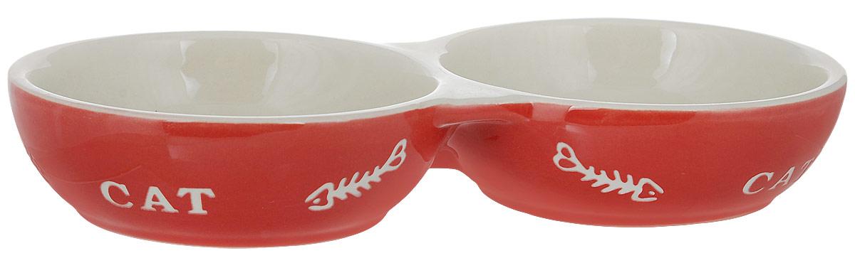 Миска для кошек Nobby  Cat , двойная, цвет: красный, светло-бежевый, 260 мл - Аксессуары для кормления