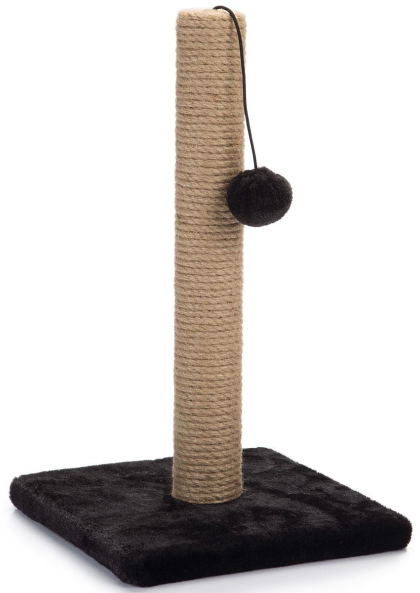 Когтеточка-столбик Beeztees Kali, цвет: черный, 25 х 25 х 42 см408941Когтеточка-столбик с помпоном Beeztees Kali поможет приучить кошку точить коготки в строго определенном месте. Изготовлена из сизаля, натурального прочного материала.Размер: 25 х 25 х 42 см.
