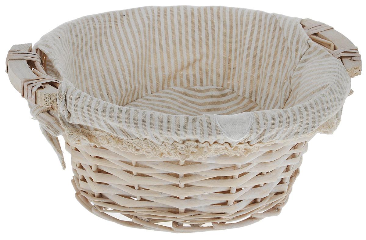 """Корзина для хранения """"Natural House"""", изготовленная из лозы  ивы, не только удобна и практична, но и прекрасно выглядит.  Высокое качество и натуральные материалы гармонично  сочетаются и создают в доме уют и теплое настроение. В  комплекте с корзиной идет съемный текстильный чехол с  принтом в полоску, который легко снимается и стирается.   Диаметр корзины: 25 см.  Высота корзины: 10 см."""