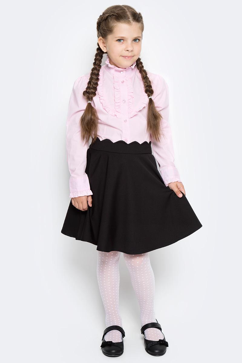 Блузка для девочки Overmoon by Acoola Bett, цвет: бледно-розовый. 21200260009_3900. Размер 15821200260009_3900Блузка для девочки Luhta Bett выполнена из высококачественного материала и декорирована рюшами. Модель приталенного силуэта с воротником-стойкой и длинными рукавами застегивается на пуговицы.