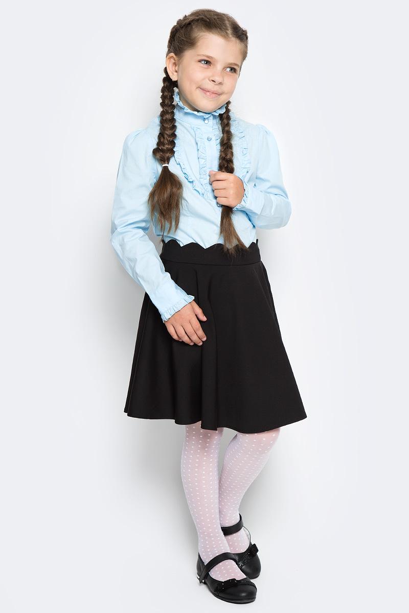 Блузка для девочки Overmoon by Acoola Bett, цвет: голубой. 21200260009_400. Размер 12221200260009_400Блузка для девочки Luhta Bett выполнена из высококачественного материала и декорирована рюшами. Модель приталенного силуэта с воротником-стойкой и длинными рукавами застегивается на пуговицы.