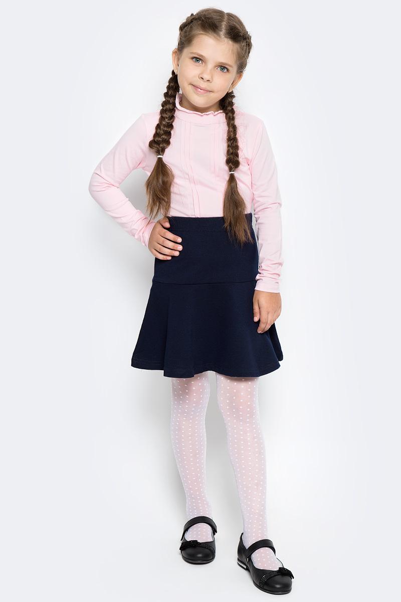 Блузка для девочки Vitacci, цвет: розовый. 2173056-11. Размер 1522173056-11Классическая школьная блузка для девочки выполнена из хлопка и спандекса. Модель с воротником стойкой и длинными рукавами.