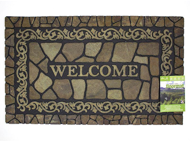 Коврик придверный Mohawk Узор на камне, 46 х 76 см4962Удивительно красивые натуральные дизайны, представлены в коллекции придверных ковриков MOHAWK, которые способны перенести Вас с порога вашего дома на мощеные улочки Италии, в сады с дорожками из природного камня или на рынок в испанской провинции. Коврики, кроме неповторимого дизайна, обладают отличными чистящими характеристиками, высокой устойчивостью к загрязнению, высокими водоотталкивающими и гразезащитными свойствами, долговечны, не крошатся и не выцветают. Настоящая находка для тех, кто любит стильные, функциональные и надежные вещи. Коврик может использоваться как перед дверью с уличной стороны, так и внутри помещения, так как основание из переработанной резины не имеет запаха и не пачкает поверхность пола. Материал рабочей поверхности: полиэстер с печатным рисунком высокой четкости. Чистить встряхиванием, возможна чистка пылесосом или под струей воды с применением щедящих моющх средств, сушить на воздухе.