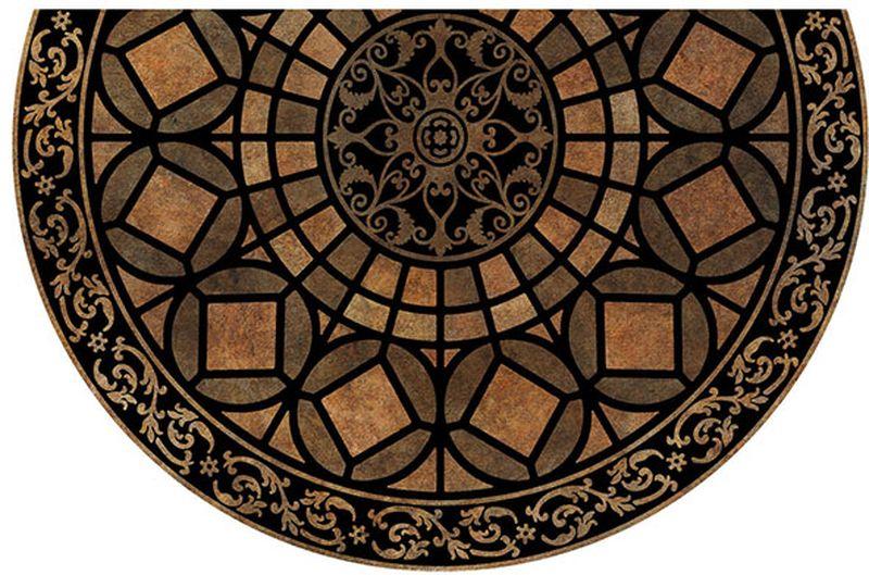 Коврик придверный Mohawk Готический Узор, 58,5 х 59 см4468Удивительно красивые натуральные дизайны, представлены в коллекции придверных ковриков MOHAWK, которые способны перенести Вас с порога вашего дома на мощеные улочки Италии, в сады с дорожками из природного камня или на рынок в испанской провинции. Коврики, кроме неповторимого дизайна, обладают отличными чистящими характеристиками, высокой устойчивостью к загрязнению, высокими водоотталкивающими и гразезащитными свойствами, долговечны, не крошатся и не выцветают. Настоящая находка для тех, кто любит стильные, функциональные и надежные вещи. Коврик может использоваться как перед дверью с уличной стороны, так и внутри помещения, так как основание из переработанной резины не имеет запаха и не пачкает поверхность пола. Материал рабочей поверхности: полиэстер с печатным рисунком высокой четкости. Чистить встряхиванием, возможна чистка пылесосом или под струей воды с применением щедящих моющх средств, сушить на воздухе.