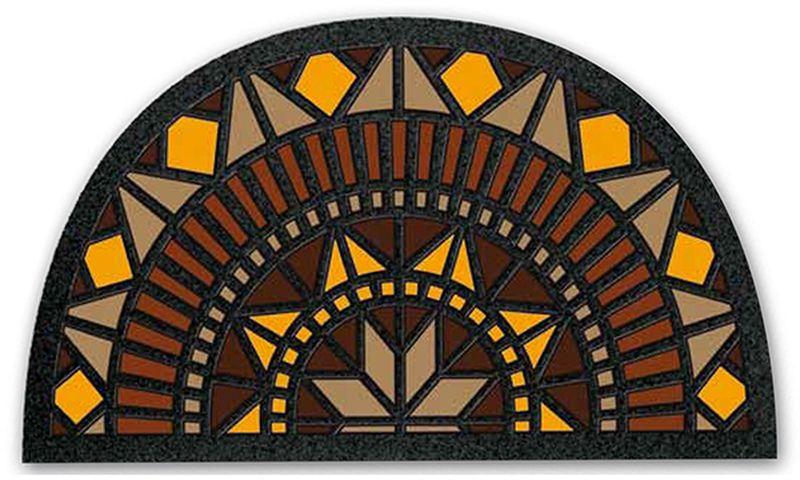 Коврик придверный Euroflock Format Mezzaluna. Розетта, 40 х 68 см4962Euroflock - это яркая коллекция придверных ковриков с оригинальным дизайном, который выполнен в неповторимой цветовой гамме. Коврик со временем не выцветает и не теряет яркости красок, так как рисунок выполнен из окрашенных волокон 100% полиамида, который в отличие от печатного рисунка со временем не теряет цвета. Изделие не обладает запахом, основание из резины не оставляет следов на поверхности пола, поэтому коврик можно использовать как снаружи, так и внутри помещения. Устойчив к влаге и появлению плесени, легко моется и чистится, не скользит на гладких поверхностях. Обладает высокими грязезащитным характеристиками.