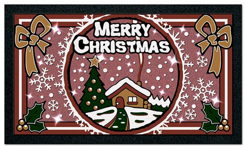 Коврик придверный Euroflock Format Glitter. Рождество, цвет: розовый, коричневый, 40 х 68 см5086Коврик Euroflock Format Classic. Рождество - это яркий придверный коврик с оригинальным дизайном, который выполнен в неповторимой цветовой гамме.Коврик со временем не выцветает и не теряет яркости красок, так как рисунок выполнен из окрашенных волокон 100% полиамида, который в отличие от печатного рисунка со временем не теряет цвета. Изделие не обладает запахом, основание из резины не оставляет следов на поверхности пола, поэтому коврик можно использовать как снаружи, так и внутри помещения. Устойчив к влаге и появлению плесени, легко моется и чистится, не скользит на гладких поверхностях. Обладает высокими грязезащитным характеристиками. Оригинальный дизайн и форма в виде веселых животных будет радовать не только вас, но и сможет заинтересовать детей и приучить их вытирать ноги после прогулки. Так как это может стать забавной игрой, и избавить вас от необходимости каждый раз протирать пол.Размер: 40 х 68 см.