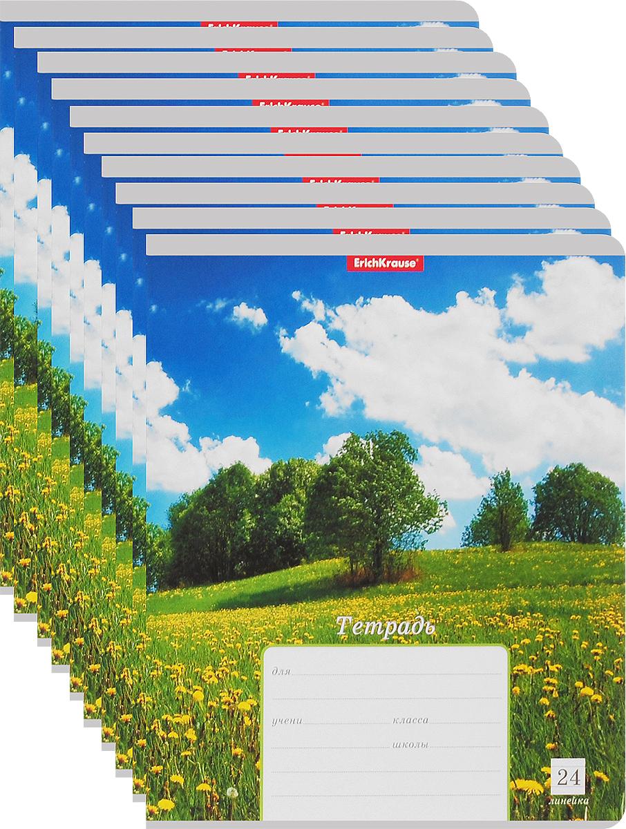 Erich Krause Набор тетрадей Родные просторы Поле 24 листа в линейку 10 шт37552_лето_полеНабор тетрадей Erich Krause Родные просторы. Поле предназначен для младших школьников. Обложка каждой тетради выполнена из плотного картона с закругленными углами и оформлена изображением летнего пейзажа. На задней стороне обложки тетради представлена таблица прописей.Внутренний блок тетрадей состоит из 24 листов белой бумаги в линейку с красными полями.В наборе 10 тетрадей.