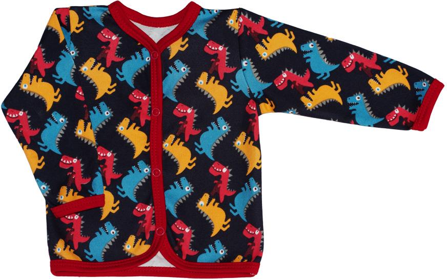 Кофточка детская КотМарКот Маленький Динозаврик, цвет: темно-синий. 7234. Размер 807234Удобная детская кофточка КотМарКот, изготовленная из интерлока, оформлена принтом с изображением динозавриков. Материал изделия мягкий и тактильно приятный, не раздражает нежную кожу ребенка и хорошо пропускает воздух. Модель с длинными рукавами и круглым вырезом горловины застегивается спереди на кнопки по всей длине, что облегчает переодевание ребенка. Изделие полностью соответствует особенностям жизни ребенка в ранний период, не стесняя и не ограничивая его в движениях.