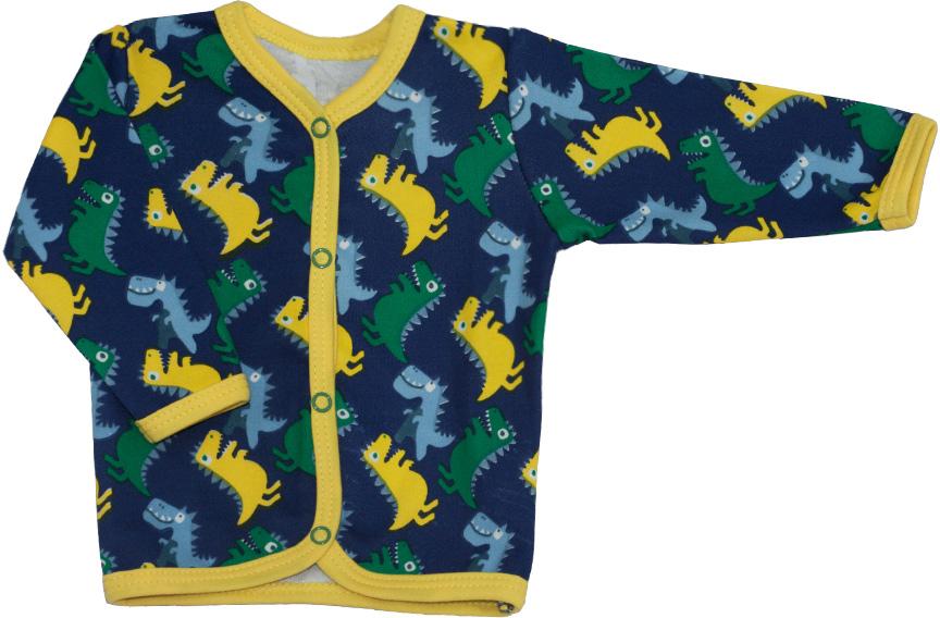 Кофта детская КотМарКот Маленький Динозаврик, цвет: темно-синий. 7236. Размер 687236Удобная детская кофточка КотМарКот Маленький Динозаврик изготовлена из интерлока и оформлена ярким принтом с изображением забавных динозавров. Модель с длинными рукавами и круглым вырезом горловины застегивается на кнопки по всей длине. Края обработаны мягкой эластичной бейкой.Материал кофточки мягкий и тактильно приятный, не раздражает нежную кожу ребенка и хорошо пропускает воздух. Изделие полностью соответствует особенностям жизни ребенка в ранний период, не стесняя и не ограничивая его в движениях.