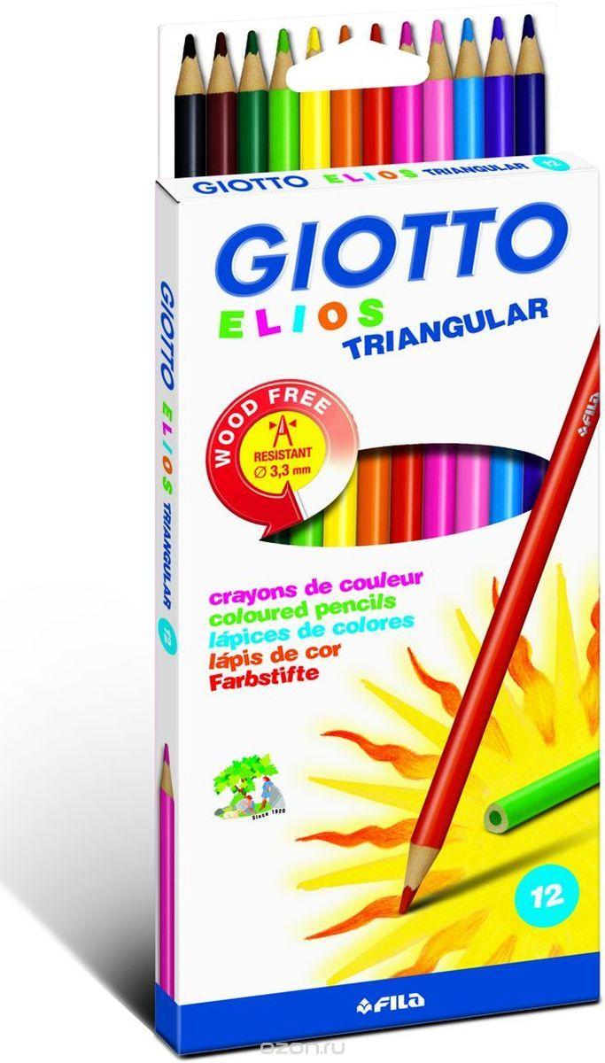 Giotto Набор цветных карандашей Elios Tri 12 шт275800Набор Giotto Elios Tri включает в себя 12 полимерных цветных карандашей треугольной формы. Карандаши легко затачиваются, обладая высокой механической прочностью. Внутри корпуса расположен качественный прочный цветной грифель, который оставляет яркий насыщенный след на бумаге. Толщина грифеля 3,3 мм.