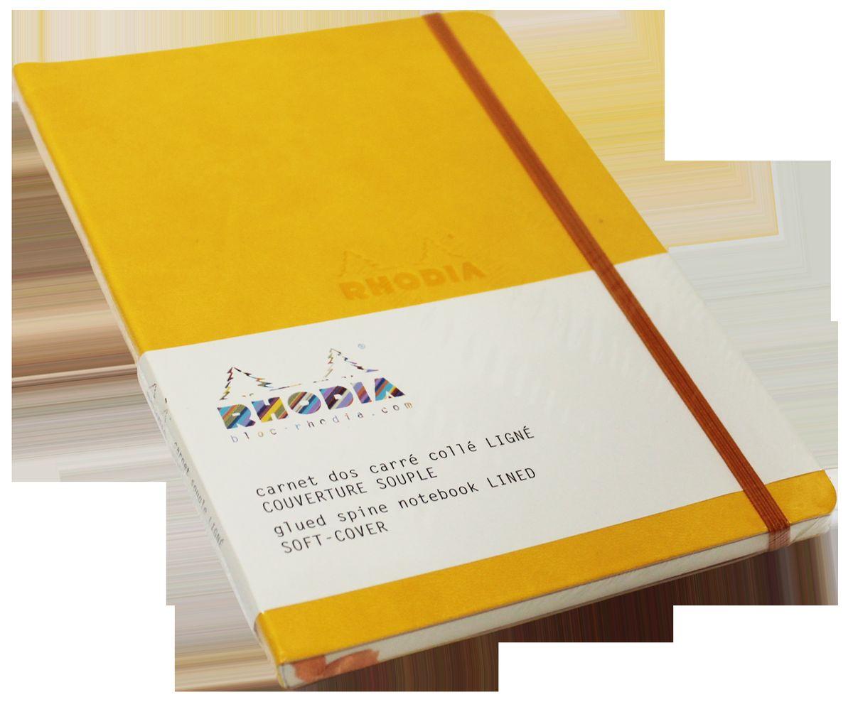 Rhodia Записная книжка 80 листов в линейку цвет желтый117416СЯркая записная книжка в мягкой синей обложке из искусственной итальянской кожи со сгруленными краями прекрасно подойдет для повседневных заметок. 80 листов гладкой бескислотной линованной бумаги (целлюлоза 100%) цвета слоновой кости плотностью 90 гр/м2.Также у блокнота есть шелковая закладка.
