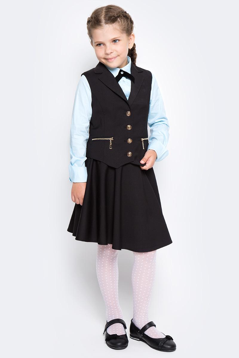 Жилет для девочки Vitacci, цвет: черный. 2173080-03. Размер 1342173080-03Жилет для девочки выполнен из качественного материала. Модель застегивается на пуговицы.