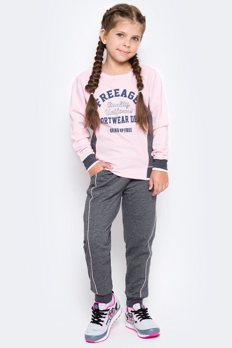 Свитшот для девочки Free Age, цвет: розовый, серый меланж. ZG 09302-DMP-2. Размер 128, 7 лет юбки free age юбка шахматы zg 20120 p zg 20121 l