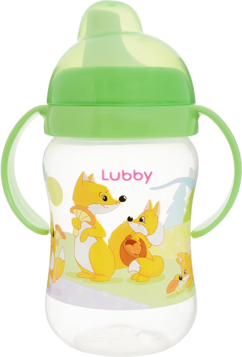 Lubby Поильник-непроливайка Веселые животные от 6 месяцев цвет салатовый 250 мл lubby поильник с ручками just от 6 мес 180 мл lubby оранжевый