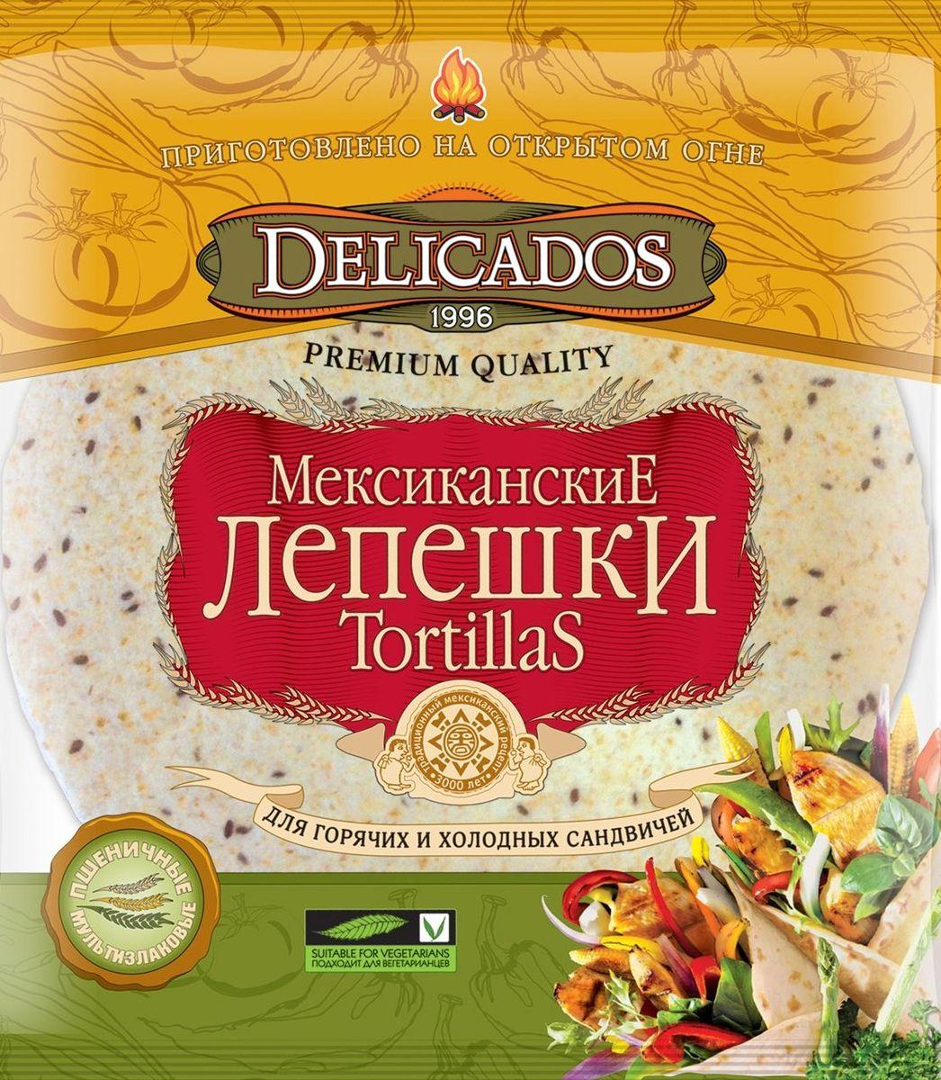Delicados лепешки мультизлаковые, 400 гбрс004Мексиканская лепешка Тортилья известна всему миру не только как разновидность хлебного продукта или лаваша, но и как символ Мексики. Сложно представить мексиканскую трапезу без тортильи. Ведь этот народ употребляет тортильи около 3000 лет. Еще ацтеки выпекали вкусные лепешки, которые выступали в роли тарелки, ложки и хлеба. Но простота рецептуры и функциональность не утратили своего значения и в современном мире, ведь сейчас в отсутствии времени на приготовление полноценной еды в течение дня, мы привыкли отправлять в желудок все, что попадается под руку. А мультизлаковая тортилья с блеском решает проблему обедов, перекусов и быстрых и полезных бутербродов.