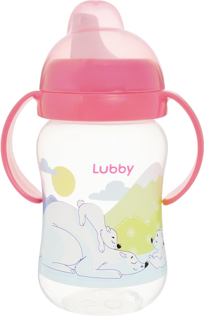 Lubby Поильник-непроливайка Веселые животные от 6 месяцев цвет коралловый 250 мл поильники lubby непроливайка со сменным носиком малыши и малышки 150 мл