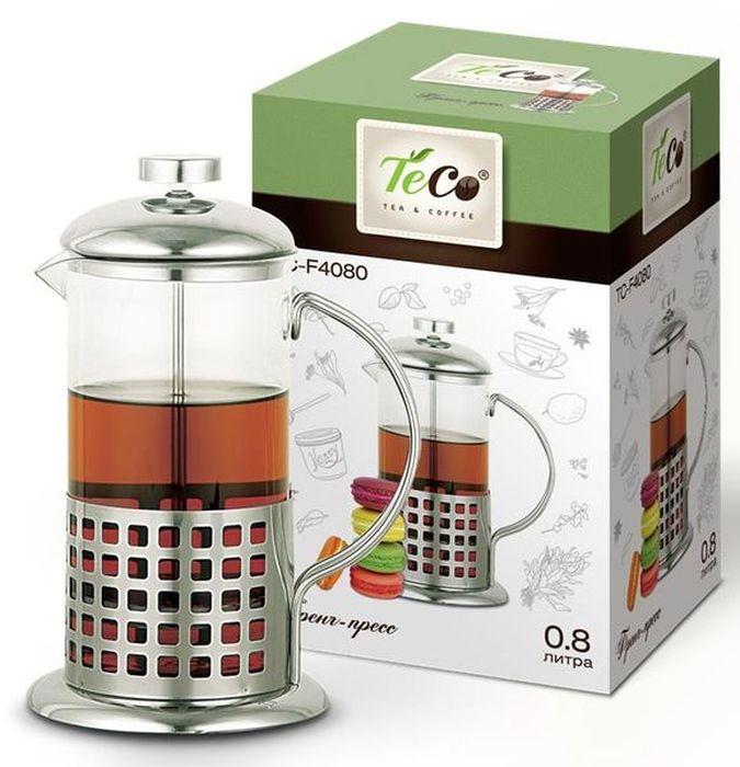 Френч-пресс Teco, 800 млTС-F4080Френч-пресс Teco поможет приготовить вкусный и ароматный чай или кофе. Колба изготовлена из высококачественного термостойкого стекла. Основание, ручка и крышка выполнены из нержавеющей стали. Плотно прилегающая крышка позволяет надолго сохранить аромат напитка. Фильтр-поршень обеспечивает равномерную циркуляцию воды и насыщенность напитка. С его помощью также можно регулировать степень крепости напитка. Остановить процесс заваривания легко, для этого нужно просто опустить поршень, и все уйдет вниз, оставляя вверху напиток, готовый к употреблению.Объем: 800 мл.