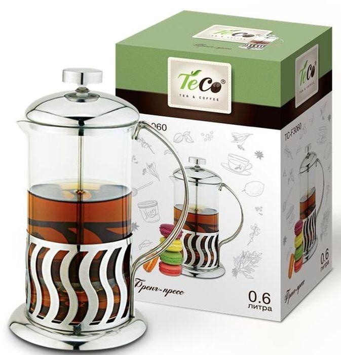 Френч-пресс Teco, цвет: серебристый, прозрачный, 350 млTС-F3035Френч-пресс Teco выполнен из высококачественного термостойкого стекла, нержавеющей стали и пищевого пластика, легко моется, в том числе в посудомоечной машине, позволит вам быстро и без усилий приготовить свежий ароматный кофе или чай. Объем: 350 мл.