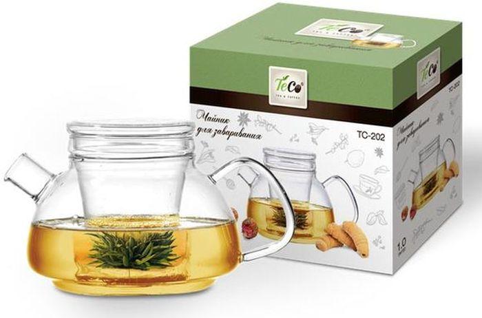 Чайник заварочный Teco, 1 лTC -202Заварочный чайник Teco изготовлениз термостойкого стекла. Крышка изготовлена из стекла, а сито изготовлено из нержавеющей стали. Cито предотвращает попадание чайных листьев в напиток. Благодаря прозрачности стекла, удобно оценить степень заваривания напитка.Объем: 1000 мл.