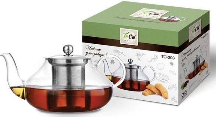 Чайник заварочный Teco, 600 млTC -203Чайник для заваривания 600 мл из стекла с ситом и крышкой из нержавеющей стали