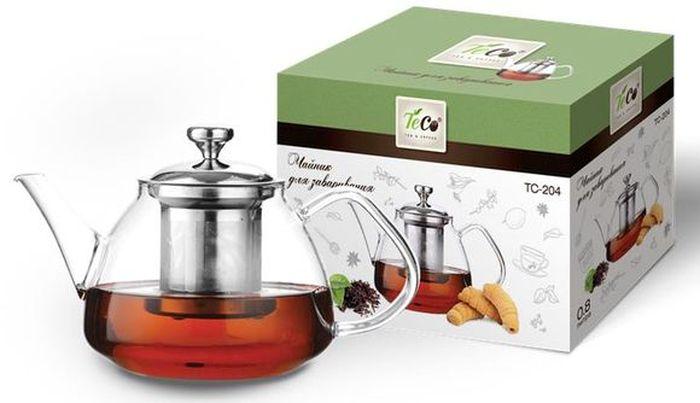 Чайник заварочный Teco, 800 мл. TC -204TC -204Заварочный чайник Teco изготовлениз термостойкого стекла. Крышка и сито изготовлены из нержавеющей стали. Cито предотвращаетпопадание чайных листьев в напиток. Благодаря прозрачности стекла, удобно оценить степень заваривания напитка. Объем: 800 мл.
