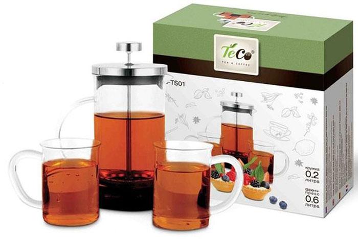 Набор чайный Teco, 3 предметаTC-TS01Набор из френч-пресса TECO 600 мл и двух кружек из стекла 200 мл