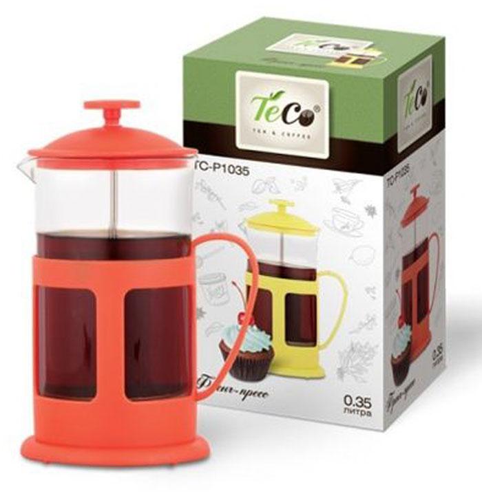 Френч-пресс Teco, цвет: прозрачный, розовый, 350 мл. TC-P1035-RTC-P1035-R(красный)Френч-пресс Teco с корпусом из стекла и пластика предназначен для заваривания чая, приготовления кофе и других напитков. Колба изготовлена из жаропрочного стекла и имеет практичный носик, что препятствует образованию подтеков и делает френч-пресс еще более удобным в обращении. Благодаря прозрачности стекла, можно визуально оценить состояние заварки и ее крепость. Благодаря специальному поршню с встроенным фильтром, изготовленным из нержавеющей стали, напиток получается чистым и прозрачным. А яркий пластик, из которого изготовлен каркас френч-пресса, делает изделие ещё более привлекательным.Френч-пресс прост в эксплуатации и уходе: он легко разбирается и моется. Также его можно мыть в посудомоечной машине.Объем: 350 мл.