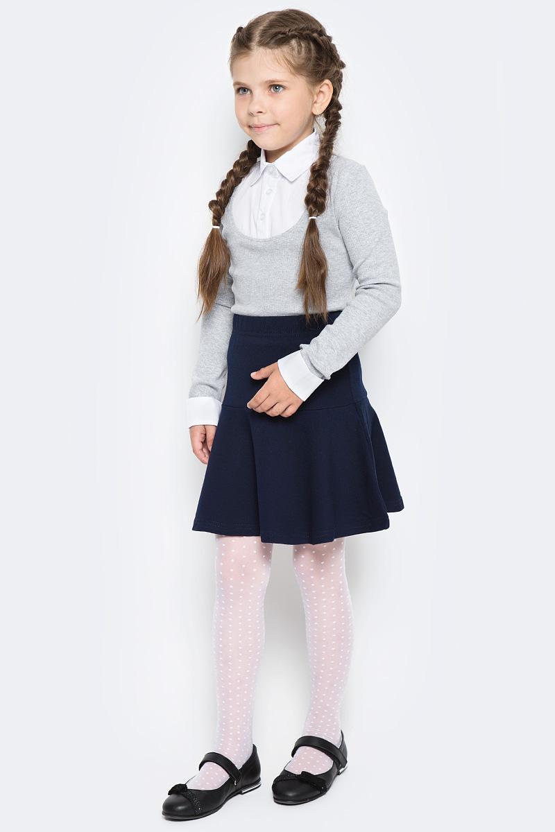 Блузка для девочки Free Age, цвет: белый, серый меланж. ZG 28085-MW2. Размер 122, 6 лет