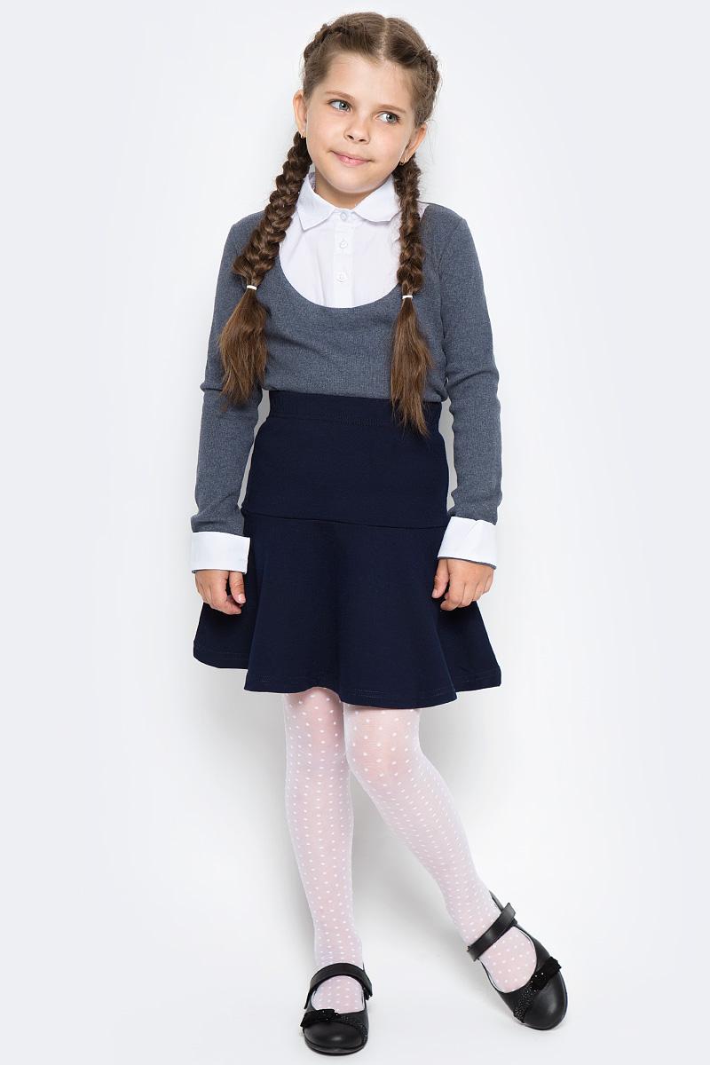 Блузка для девочки Free Age, цвет: белый, темно-серый меланж. ZG 28084-MW2. Размер 140, 9 летZG 28084-MW2Блузка для девочки Free Age с длинным рукавом выглядит повседневно и нарядно. Изготовлена из двух полотен: трикотаж и поплин. Кокетка спереди имеет более строгий вид и застегивается на пуговицы. Дизайн блузки основательно выверен. Все составляющие аккуратно скомбинированы и отлично подходят друг к другу.По низу рукавов - декоративные манжеты из поплина.
