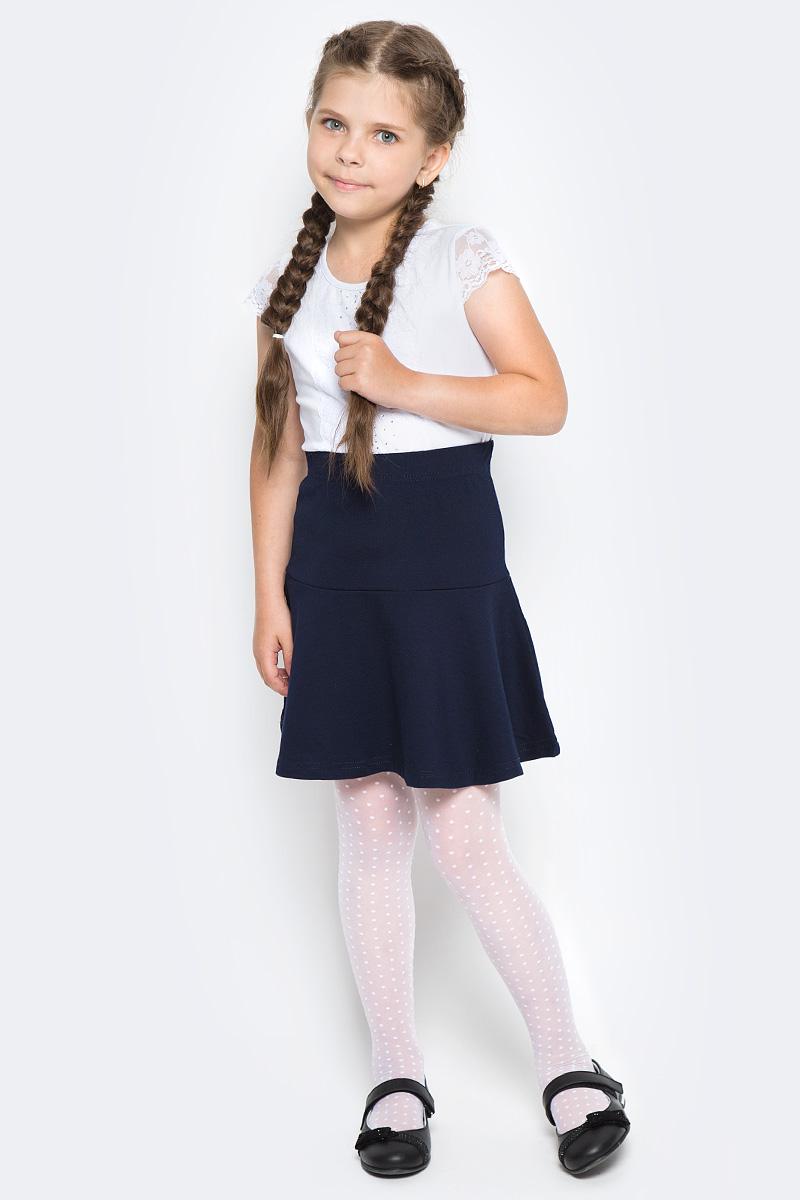 Блузка для девочки Vitacci, цвет: белый. 2173207-01. Размер 1402173207-01Блузка для девочки выполнена из хлопка и спандекса. Модель с круглым вырезом горловины и короткими рукавами.