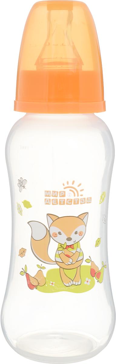 Мир детства Бутылочкадля кормления с силиконовой соской от 0 месяцев цвет оранжевый 250 мл
